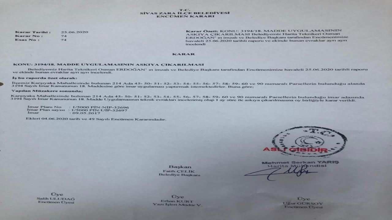 Karşıyaka Mahallesinde Bulunan Parsellerde 3194 Sayılı İmar Kanununun 18 Madde Uygulaması Yapılmaktadır. Vatandaşlarımızın Bilgisine Saygıyla Sunulur.